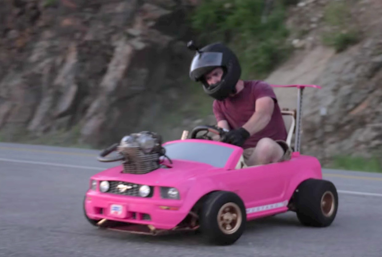 Insane Mod Motorcycle Engine In A Barbie Power Wheels Car