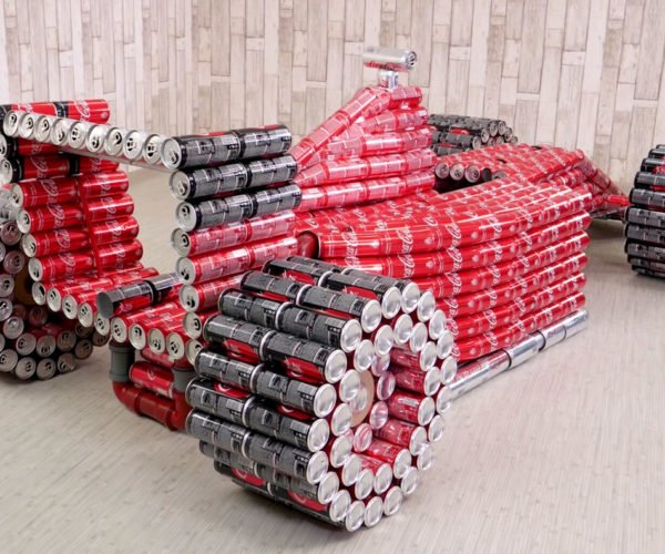 F1 Race Car Replica Built from Coke Cans Is Sure to Fail Any Crash Test
