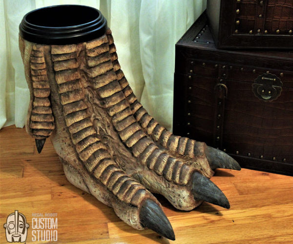 Dinosaur Foot Waste Basket Stomps into Your Living Room