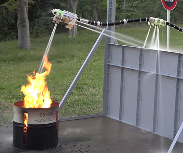Firefighting Robot Inspired by a Fire-breathing Dragon, but Breathes Water Instead