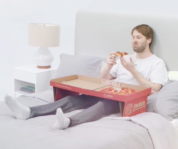 Pizza Box Turns into a Tray for Eating in Bed