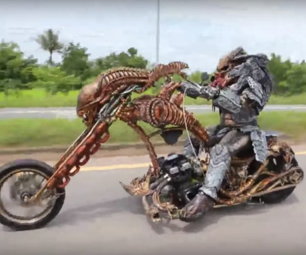 Just a Predator Riding a Xenomorph Motorcycle
