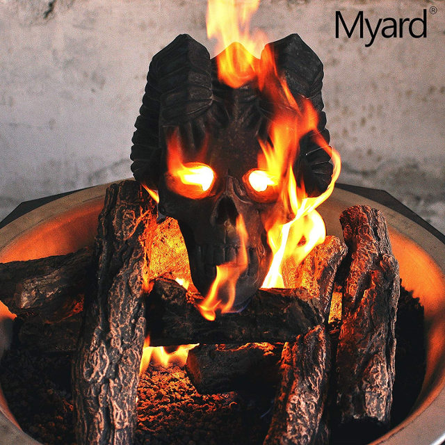 These Flaming Demon Fireplace Skulls Will Terrify Your