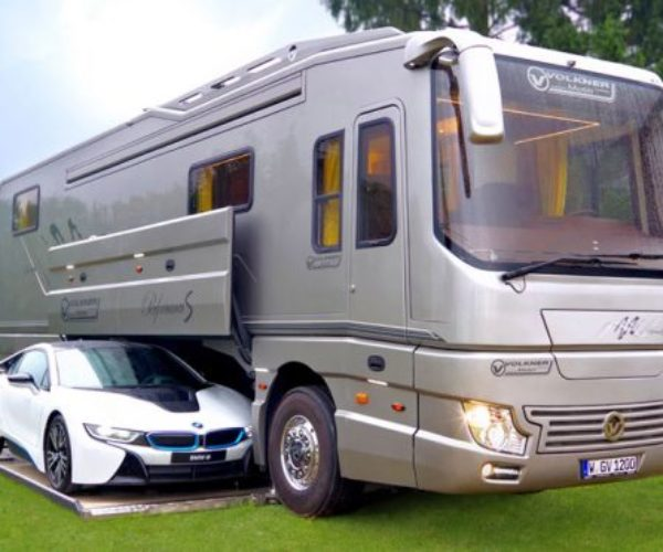 This RV Has an Onboard Garage for Your Car