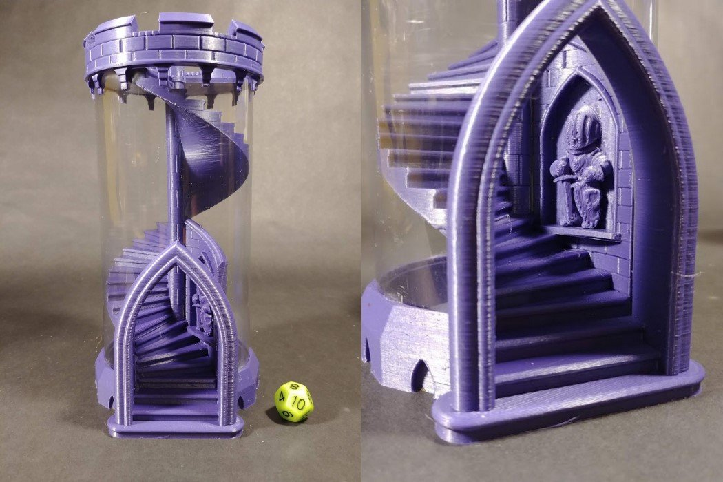 This 3D-Printed Dice Tower Features a Spiral Staircase