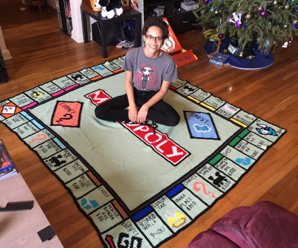 Giant Crocheted Monopoly Board: Advance to Go, Collect 200 Naps