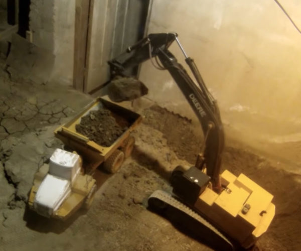 Guy Uses RC Toys To Excavate and Expand Basement