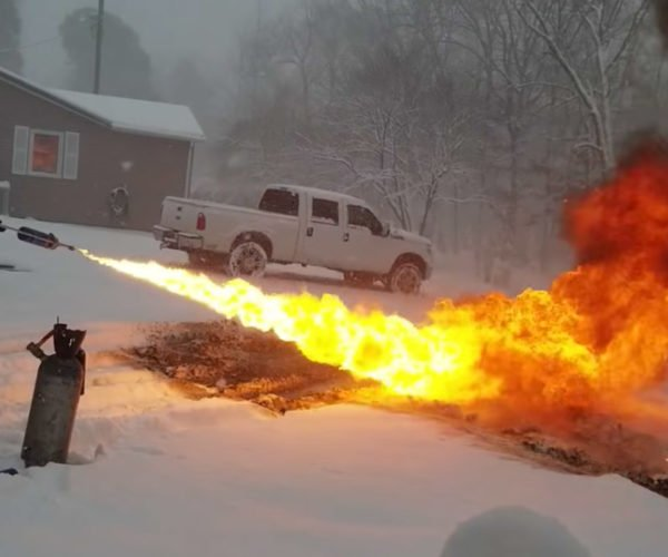 Guy Builds Flamethrower to Remove Snow: Overkill Much?