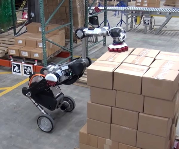 Boston Dynamics' Handle Robot Carries and Stacks Boxes