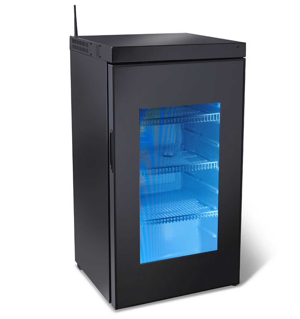 this crazy expensive tiny fridge has a see through video display door. Black Bedroom Furniture Sets. Home Design Ideas