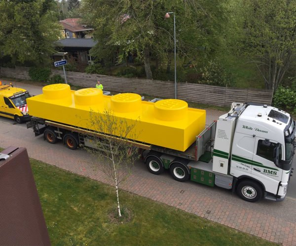 Giant LEGO Brick Spotted on a Truck In Denmark