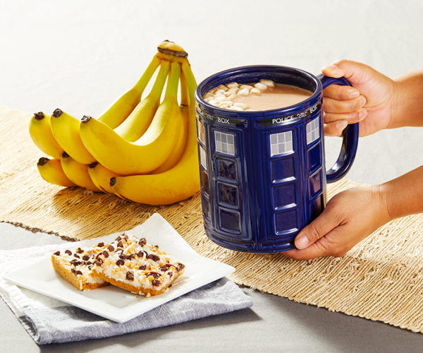 This TARDIS Mug Holds a Whopping 64 Ounces of Coffee