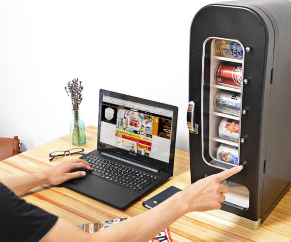 This Desktop Fridge Is a Soda Can Vending Machine