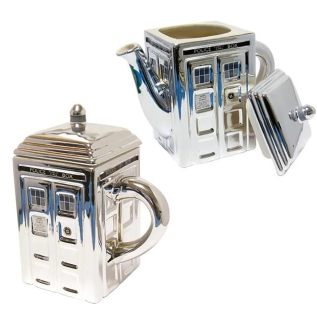 This TARDIS Teapot and Mug Are Shinier on the Outside