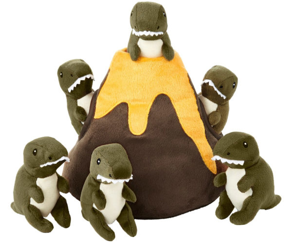 A Plush Volcano and Squeaky Dinosaur Plush Toys for Your Dog