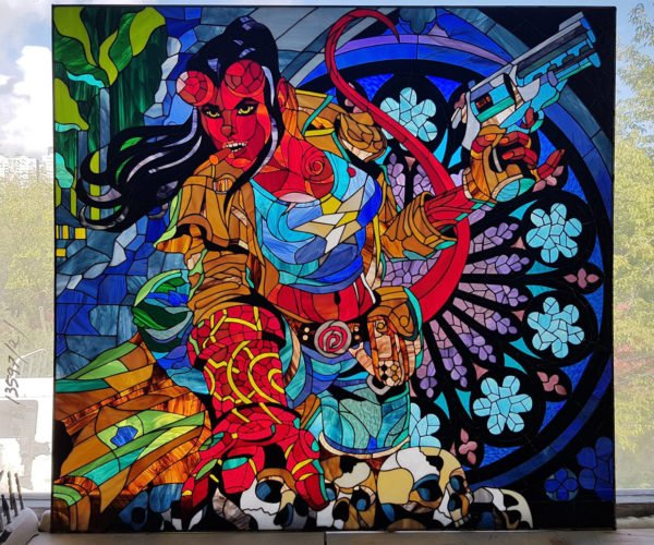Hellgirl Stained Glass Window Is a Hell of a Piece of Art
