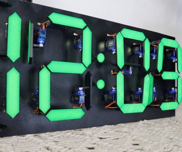 This Mechanical 7-Segment Clock Tells Time with Servos