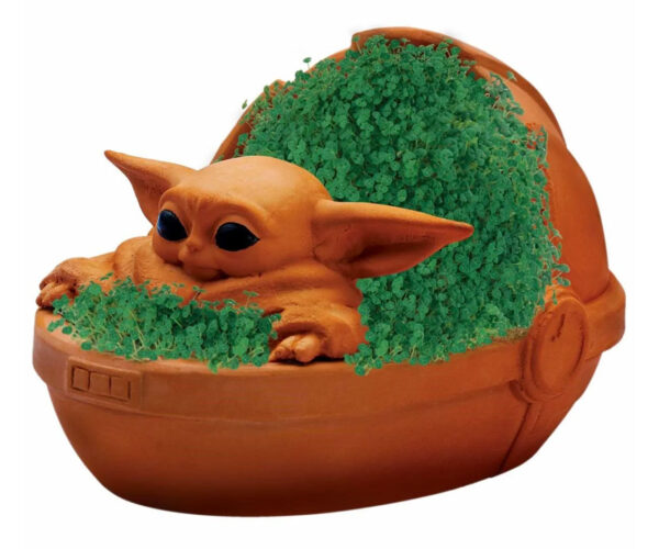 Baby Yoda Gets a Chia Pet Hover Stroller