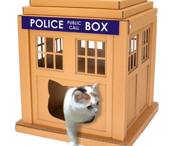 Cardboard Cat TARDIS Is Perfect for Doctor Mew
