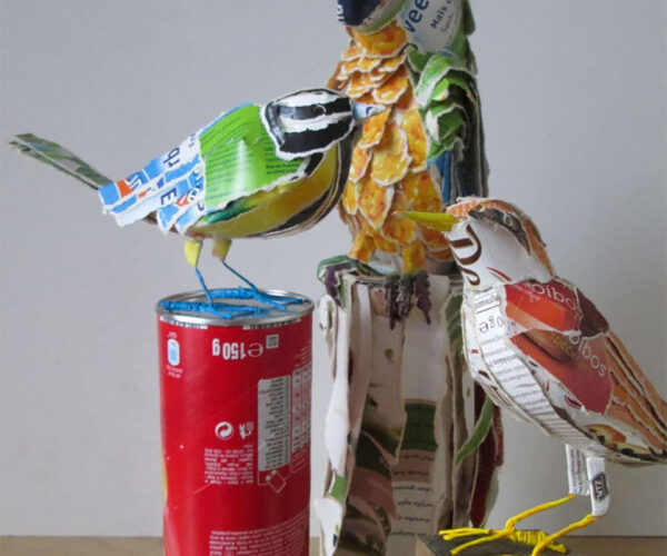 Artist Makes Birds from Cardboard Packaging