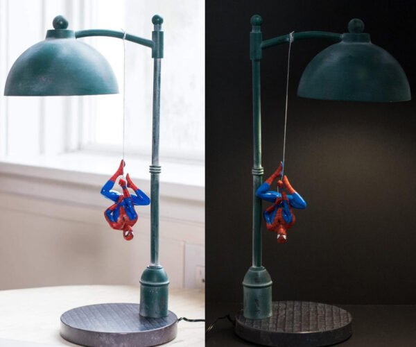 Spider-Man Dangling from a Street Lamp: Swingin' in the Rain