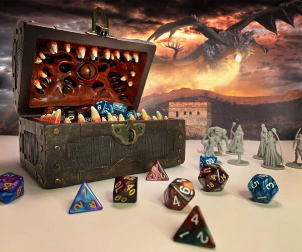 Dungeons and Dragons Mimic Chest Dice Storage Box