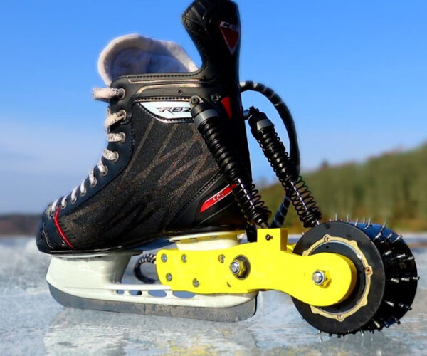 Man Builds Electric-Powered Ice Skates That Double as Meat Grinders