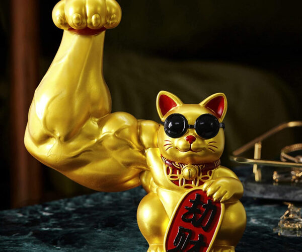 This Lucky Cat Has One Giant Muscle Arm