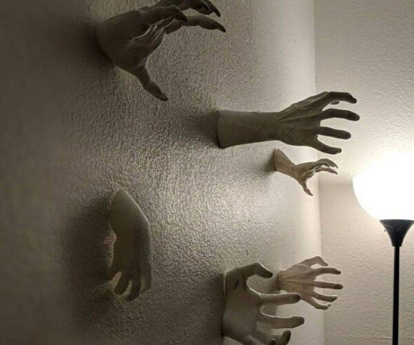 3D Printed Scary Hands Reaching Out of Wall: No Touching!