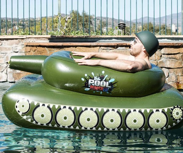 This Inflatable Pool Float Tank Has an Integrated Water Cannon