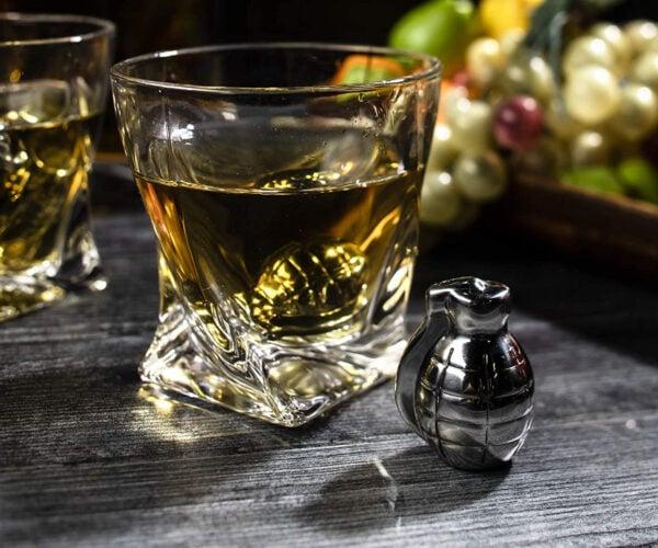 Grenade-shaped Whiskey Stones: Bombs Away!