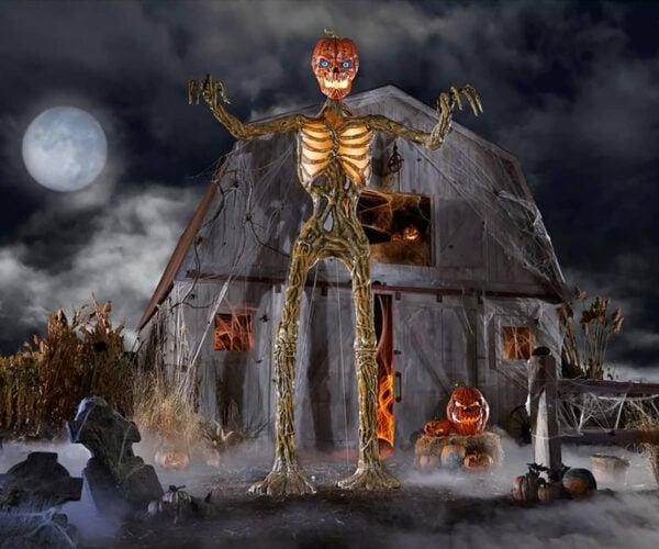 A Giant 12-Foot Tall Pumpkin-Headed Vine Skeleton Halloween Decoration