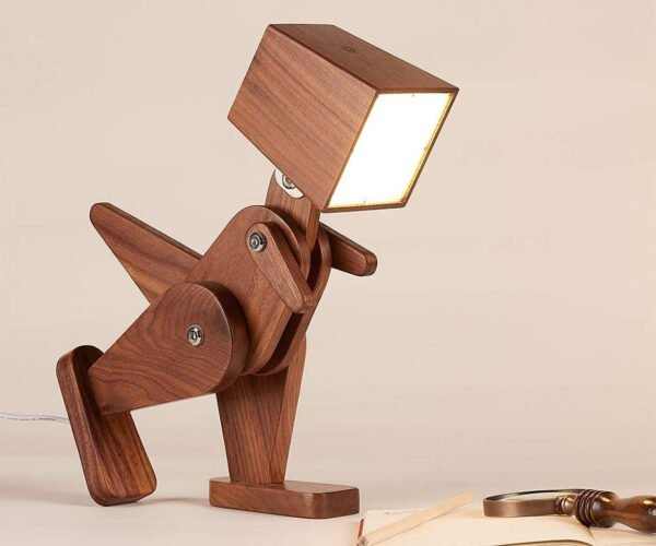 Light-Headed Dinosaur Wooden Desk Lamps