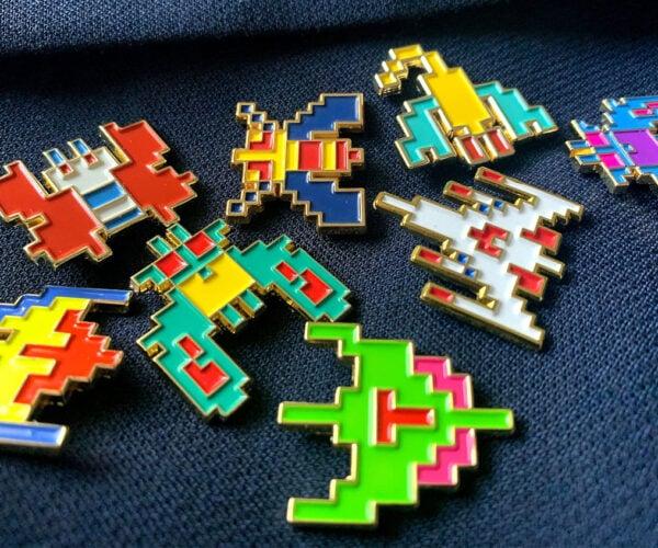 Galaga Enamel Pins Bring the 8-Bit Goodness