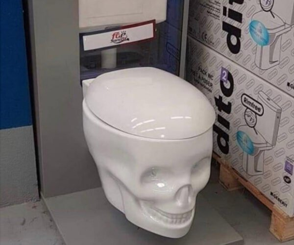 This Skull-Shaped Toilet Wants You to Sit on Its Head
