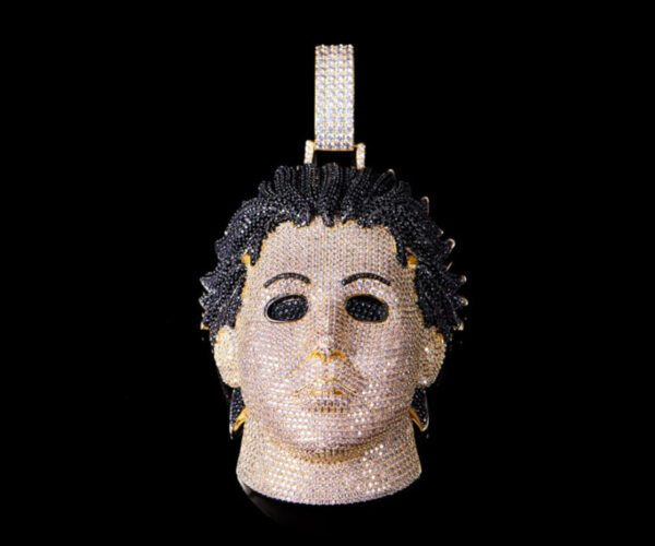 14K Gold and Cubic Zirconia Michael Myers Pendant: Stabbing in Style
